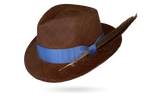 brown panama hat designer with feather