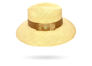 Summer Sun Straw Hat long down brim with 24k gold pin