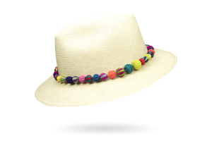 Pom-pom trimmed Classic Panama Hat by La Marqueza Hats
