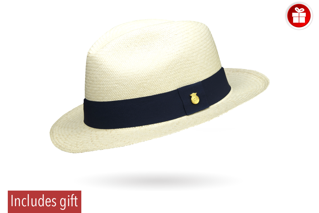 Precious Superfino Montecristi Panama Hat Adventure 55 Cm / Royal Blue