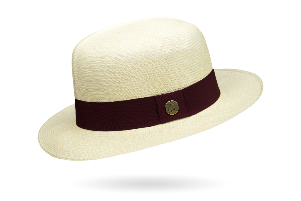 Prescious Extrafino Ii Montecristi Hat Optimo Creased Crown - Grade 20-22 54 Cm / Bordeaux Hatband
