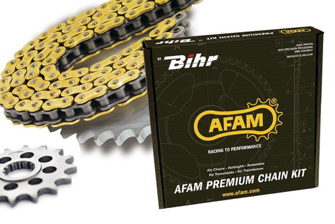 Kit chaine AFAM 428 type MX (couronne ultra-light) KTM/HUSQVARNA  85 SX 2004-2019