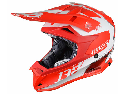 Casque JUST1 J32 Pro Kick White/Red Matte