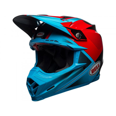 Casque BELL Moto-9 Flex Gloss/Matte Cyan/Red Hound