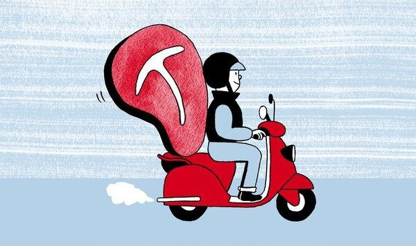 Bessie moped delivery illustration by jordan awan
