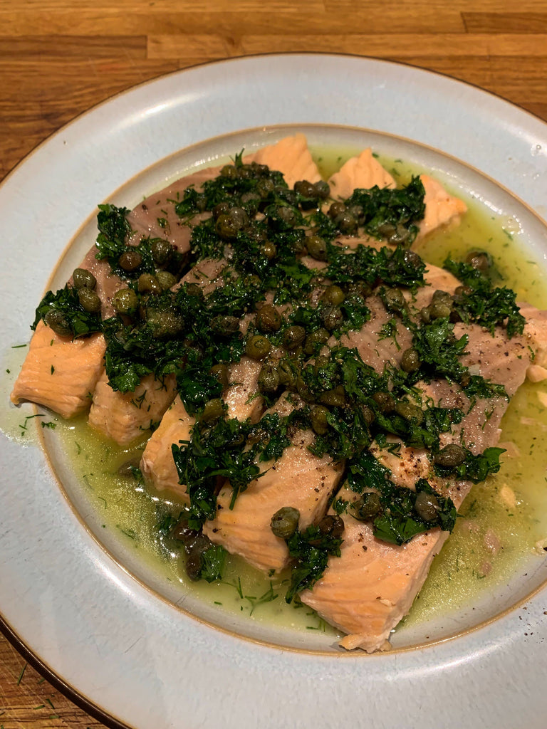 Recipe: Poached Salmon with Herb and Caper Vinaigrette