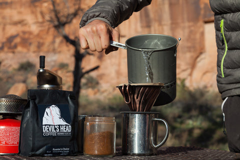 Devil's Head Coffee being enjoyed on the go
