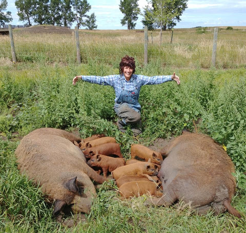 Christina from Eh Farms with two Mangalitsa sows and their piglets