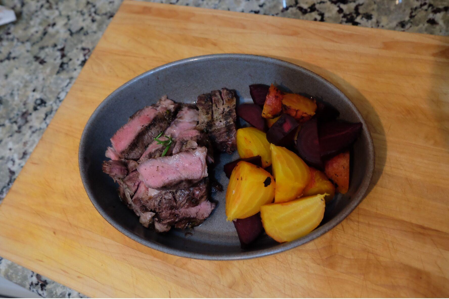 peter sous vide rib steak and veggies
