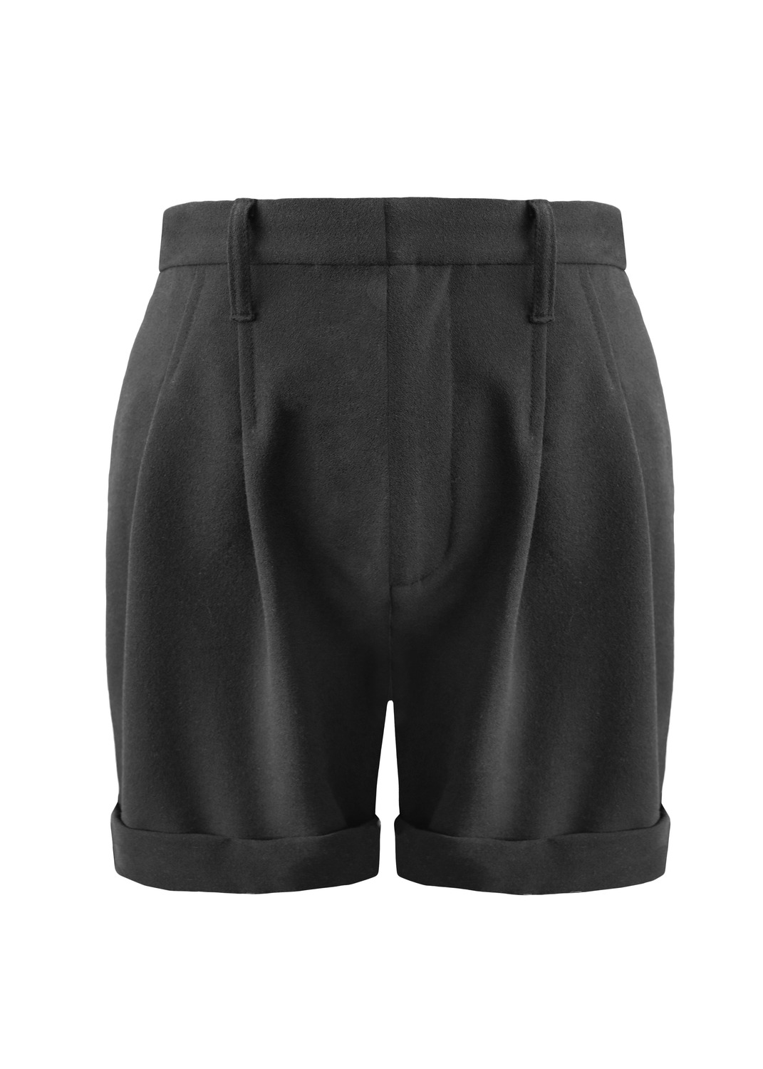 Front of black double pleated camp shorts