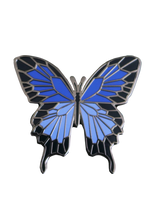 Load image into Gallery viewer, Two tone Blue enamel butterfly pin