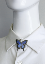 Load image into Gallery viewer, Two tone blue enamel butterfly pin on collar stand of shirt