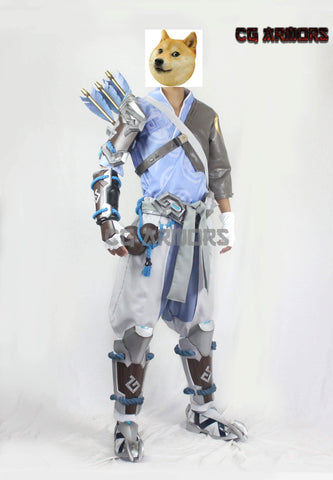 Overwatch OW Hanzo Shimada Cosplay Costumes & Boots & Weapon