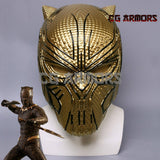 Marvel Movie Black Panther 2018 Erik Killmonger Golden Cosplay Helmet