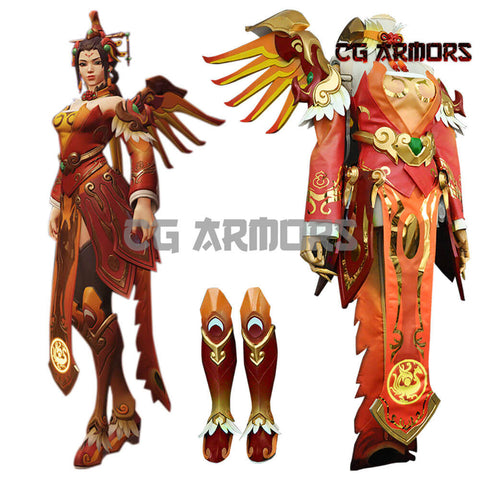 Overwatch OW Red Phoenix Skin Mercy Angela Ziegler Cosplay Costume & Wings & Boots