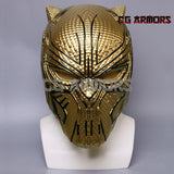 Marvel Movie Black Panther 2018 Erik Killmonger Golden Cosplay Helmet Front