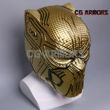 Marvel Movie Black Panther 2018 Erik Killmonger Golden Cosplay Helmet Side