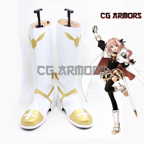 Fate Apocrypha Rider Of Black Astolfo Cosplay White Boots - cgarmors
