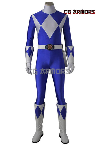 Mighty Morphin' Power Rangers Dan Tricera Ranger Cosplay Costume & Boots