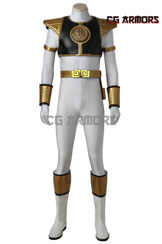 Mighty Morphin' Power Rangers Tommy Oliver White Power Ranger Cosplay Costume & Boots