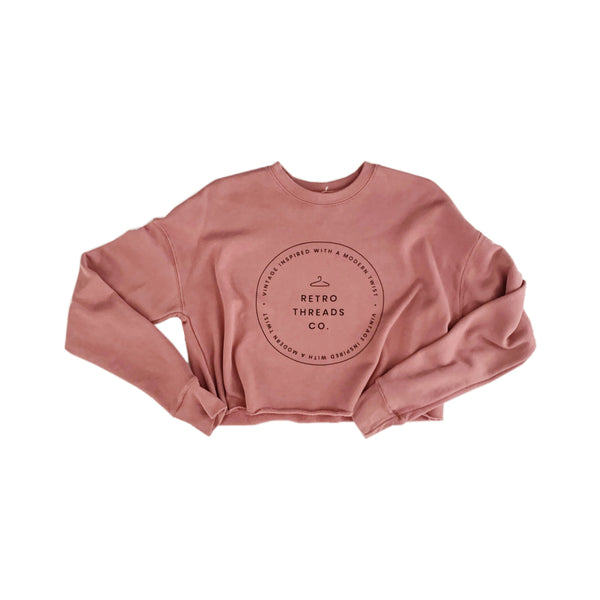 Women's Cropped Sweater- Mauve Pink