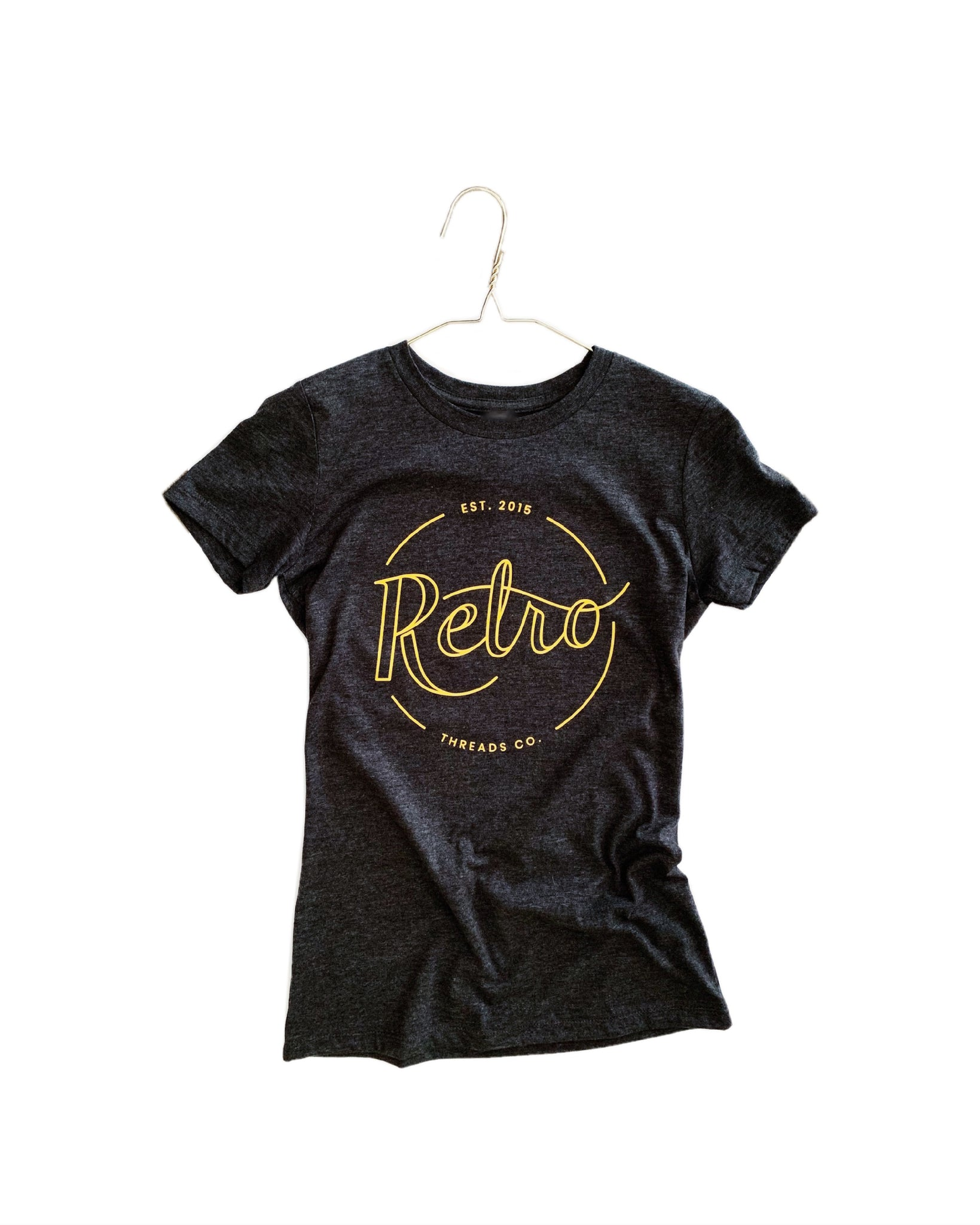 soft, comfortable, woman's graphic t-shirt. Vintage style logo, with mustard lettering. Made by retro threads co