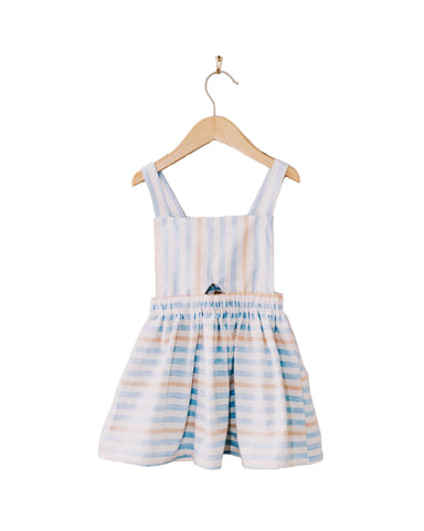 Cute striped, girls, jumper dress, made by retro threads co