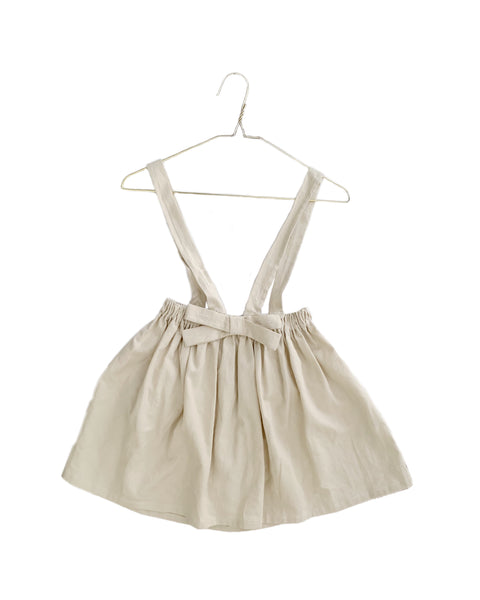 neutral, linen, bow, suspender style,  jumper dress made by retro threads co