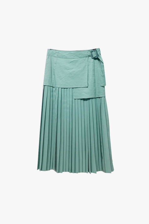 Billie Boucle Fuji Silk Skirt - Green
