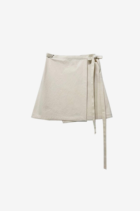 Apron Mini Wrap Skirt - Beige