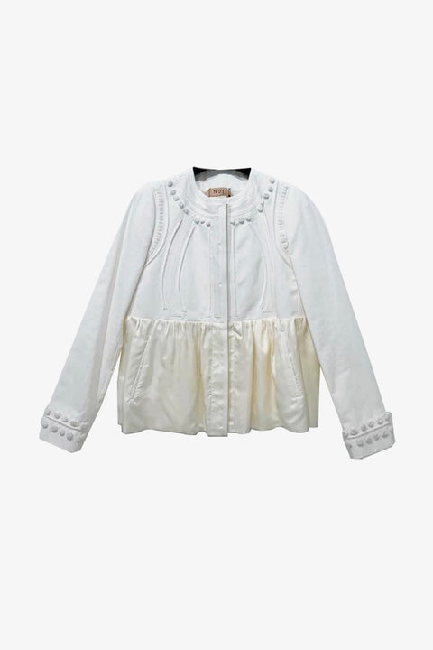 Silk Ruffle Jacket - White