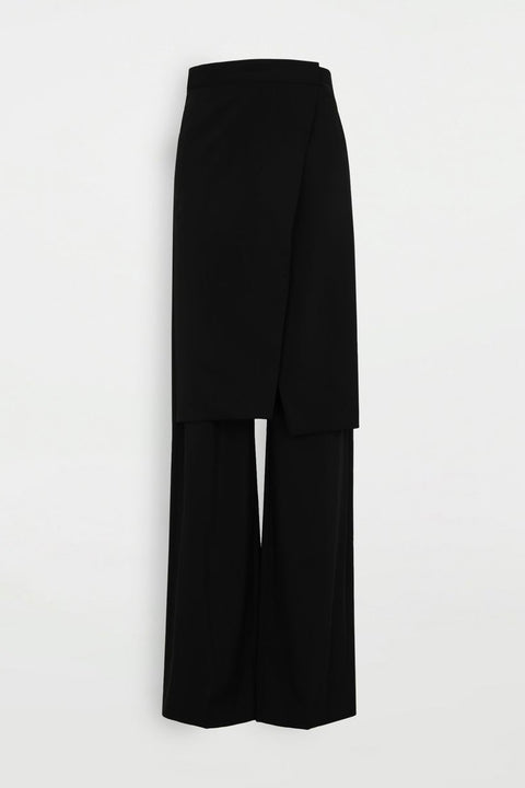 Front panel wool trousers