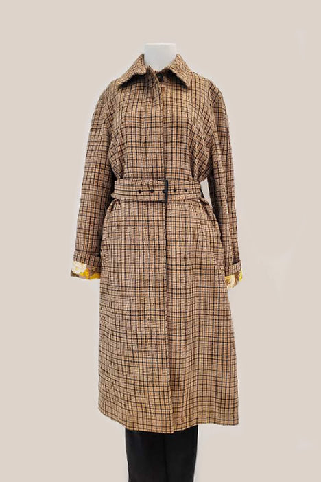Checked Belted Trench Coat - Beige