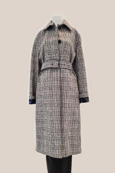 Checked Belted Trench Coat - Grey