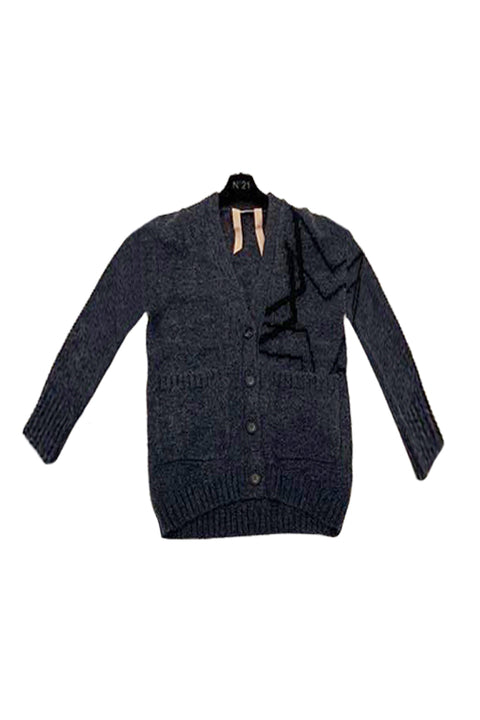V - Neck Cardigan - Grey