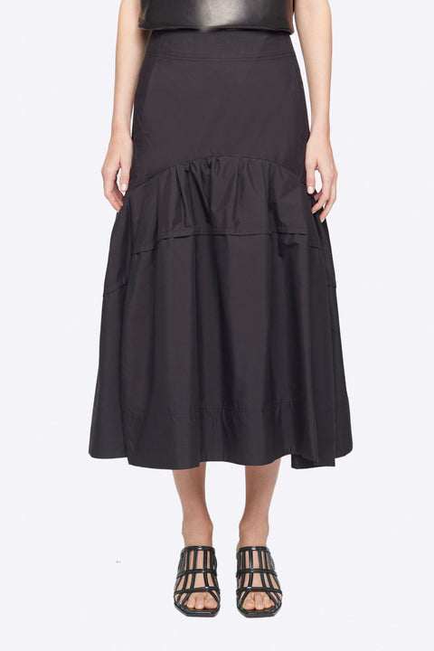Shirred Midi Skirt - Black