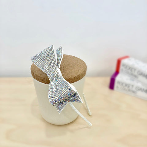 Crystal Bow Headband - Silver