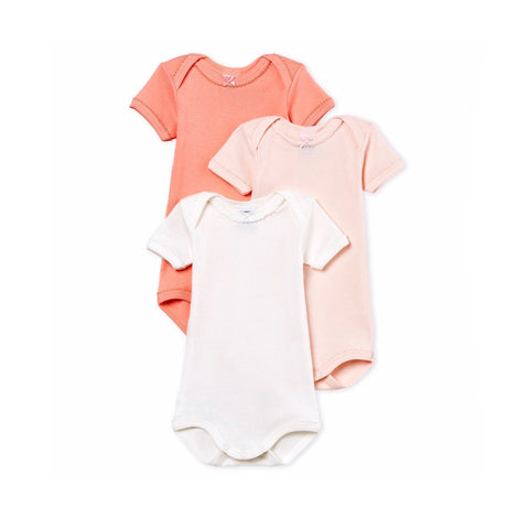Baby Girl's Short-Sleeved Cotton And Linen Bodysuit - Set of 3