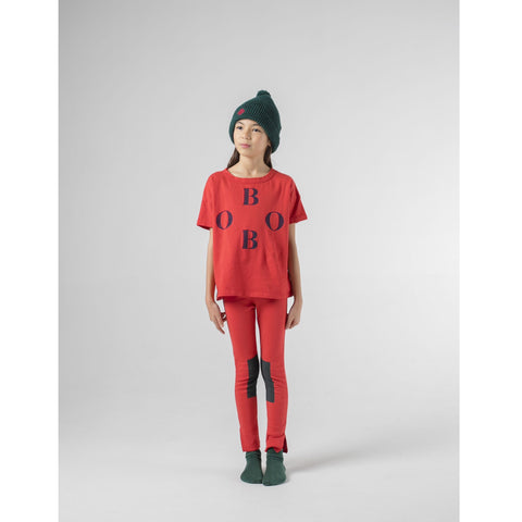 Kids Green Patch Red Leggings