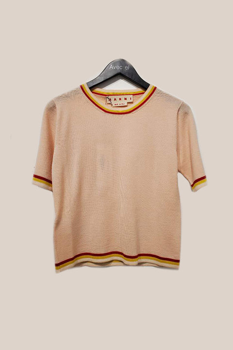 Stripe Ttrim Knitted Top - Peach
