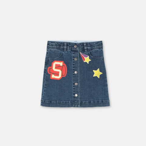 Varsity Badges Denim Skirt