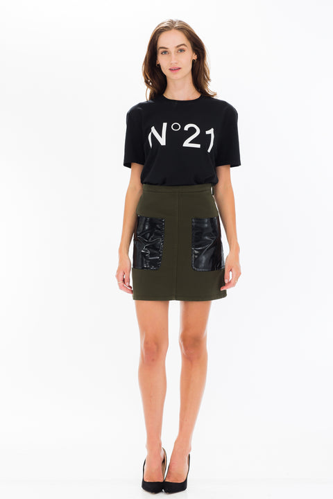 Contrast Pocket Mini Skirt - Khaki