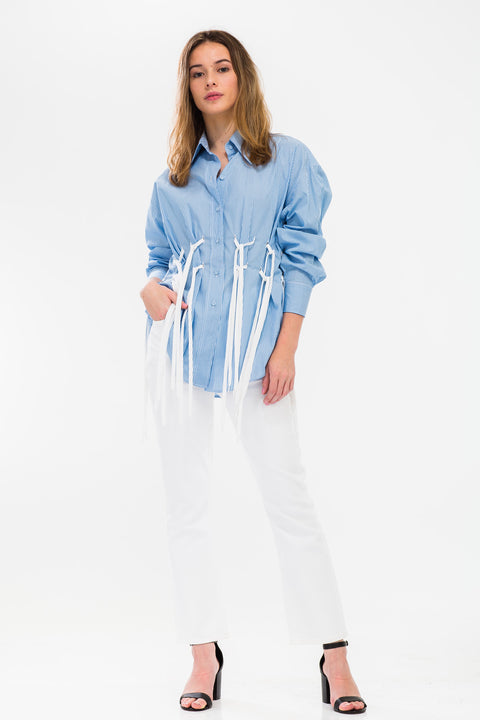Shoelace Tassel Cotton Poplin Shirt