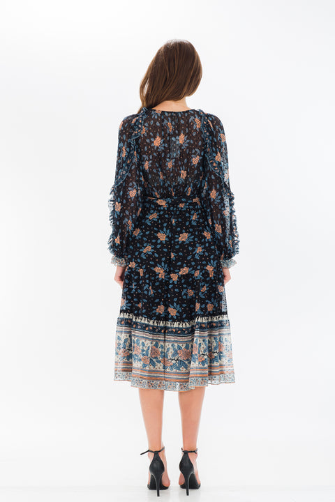 Romilly Floral Printed  Long Sleeve Midi Dress - Navy
