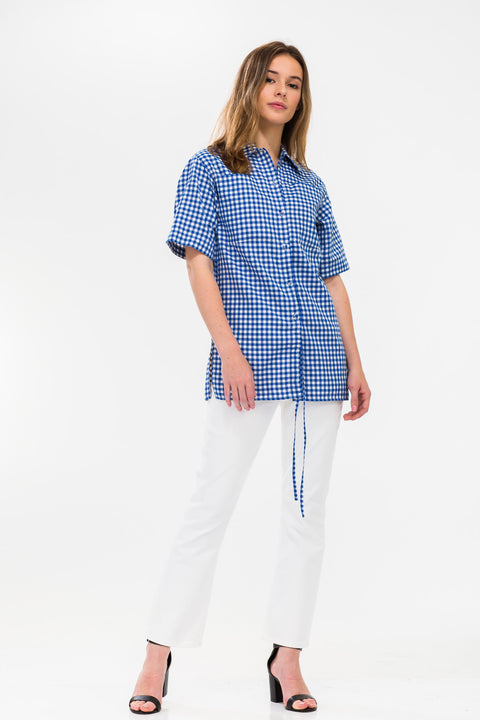 Multi-Styling Drawstring Gingham Check Shirt