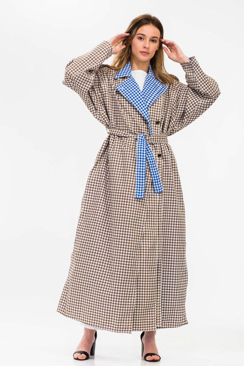 Criss Gingham Check Coat