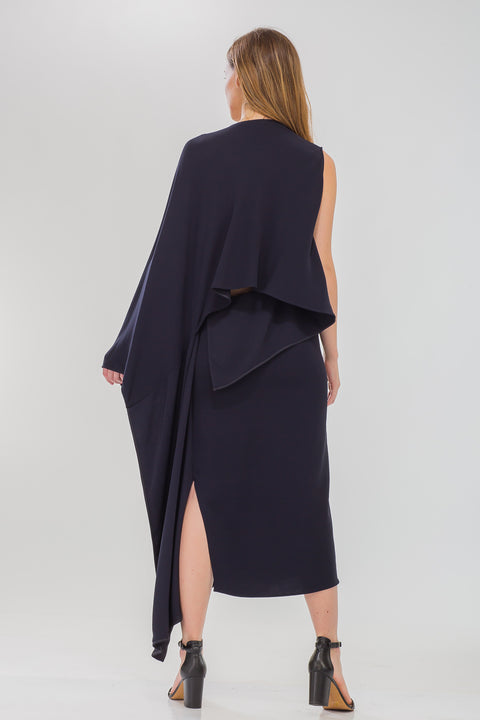 Open Back Asymmetric Drape Dress