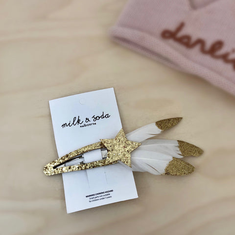 Feather Snap Clip - Gold