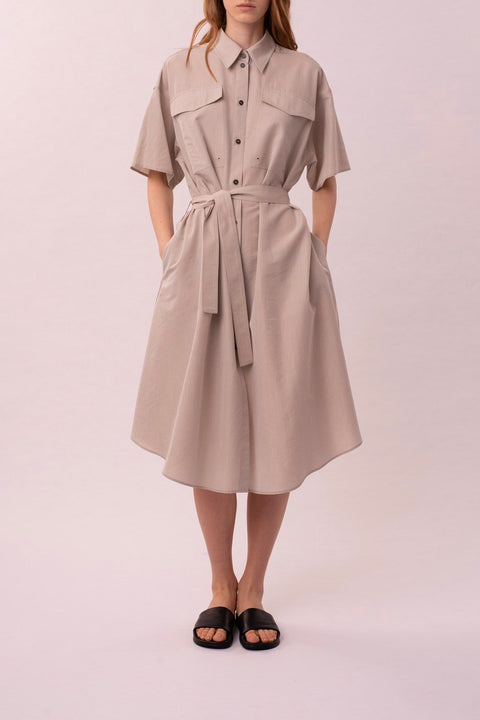 Light clay shirt dress with separate yoke
