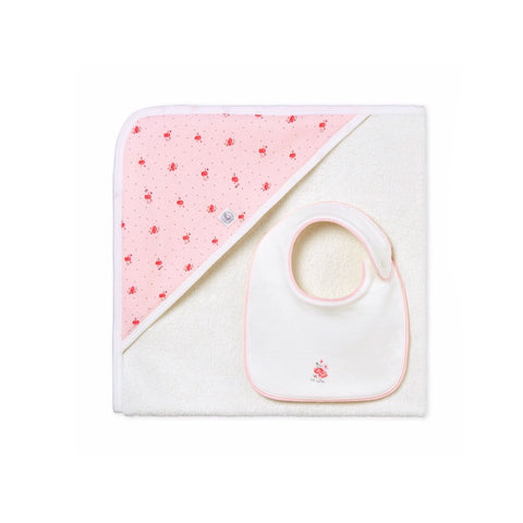 Baby Girl's Square Bath Towel + Bib